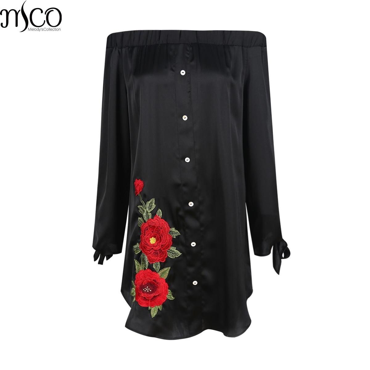 MCO סקסי כבויה פרחי Emboridery בתוספת גודל חולצה שמלת מיני גדול שמלות שחור בארדו גדול נשים בגדי 5xl 6xl 7xl
