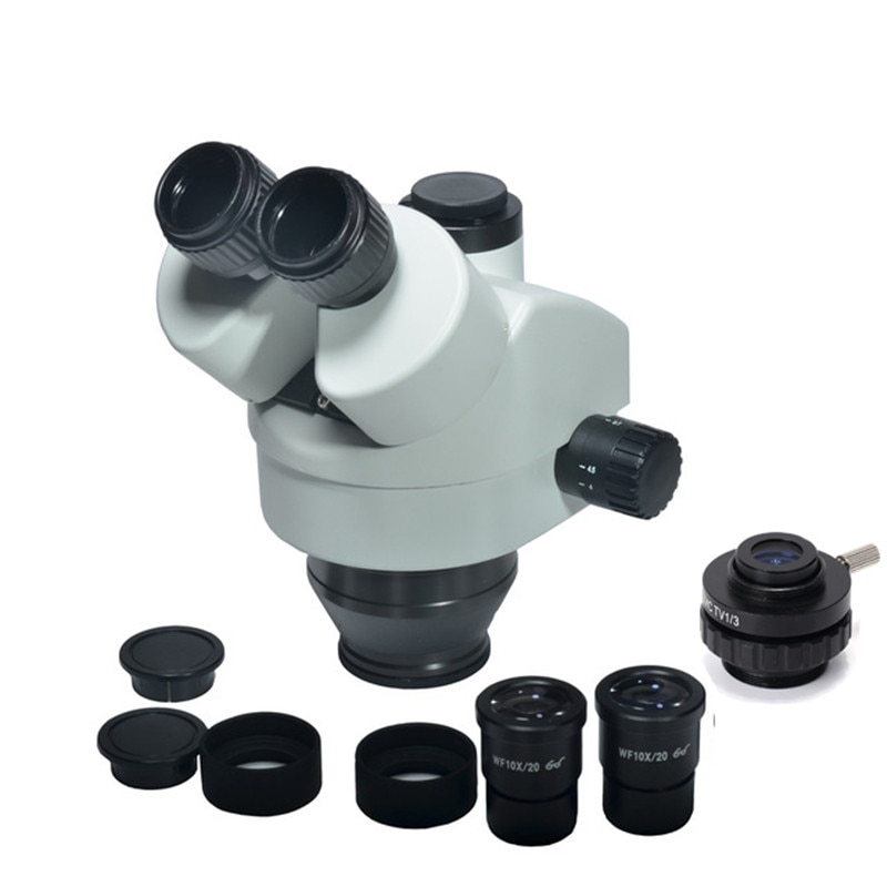 Hayear 7X-45X Zoom Trinocular Focal cabeza de Microscopio estéreo WF10X/20 Eyepiece SZMCTV1/3 CCD accesorios de Microscopio de montaje en C