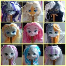 Randomly 5 Pcs/Lot LANARD Catwalk Kitties Heads Mixed Colors Cat Head For 1/6 Dolls Cute Kitty DIY Heads For Monster Doll Body
