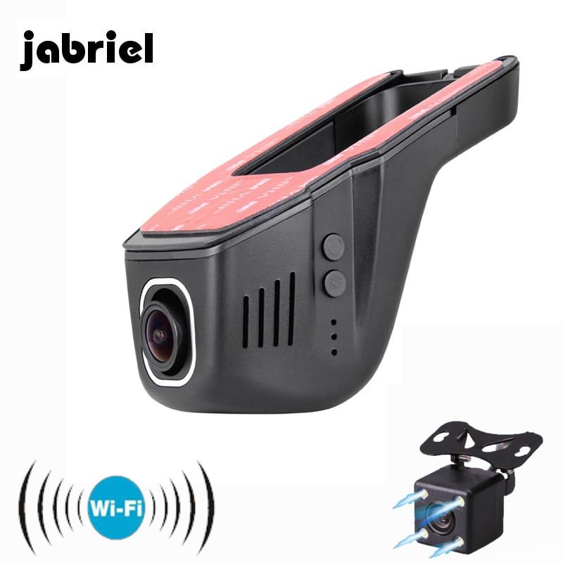 "Jabriel oculta Wifi Mini cámara del coche 170 ""gran angular Wifi grabadora de Video Mini cámara de doble cámara de salpicadero 2 Dvr HD 1080P HD coche Dvr"