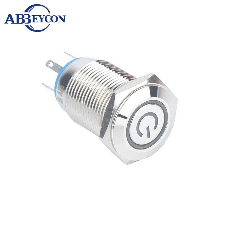 SET104 símbolo de potencia iluminado led 16mm función de bloqueo automático interruptor de botón con juego de arnés