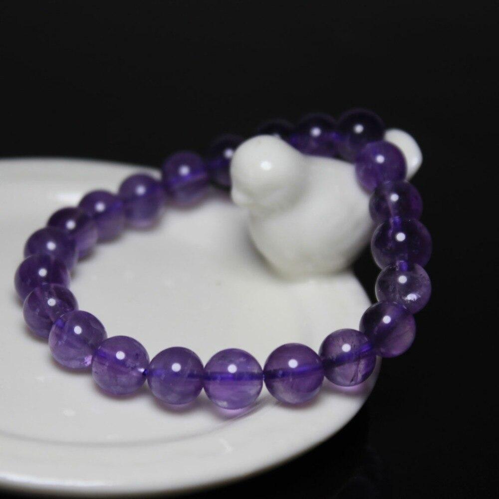 Pulsera de piedras de cuarzo púrpura amatista Natural redonda de 8 mm de buena calidad al por mayor, brazalete elástico de cuentas para mujer de 19 cm