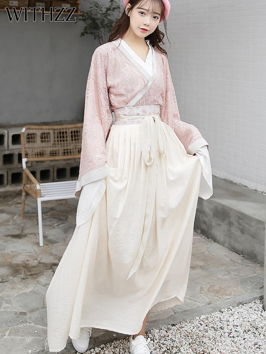 Con estilo chino de encaje de manga larga camisa bordada media falda Wei jinfengg Hanfu mejorado conjunto de elementos chinos de tres piezas