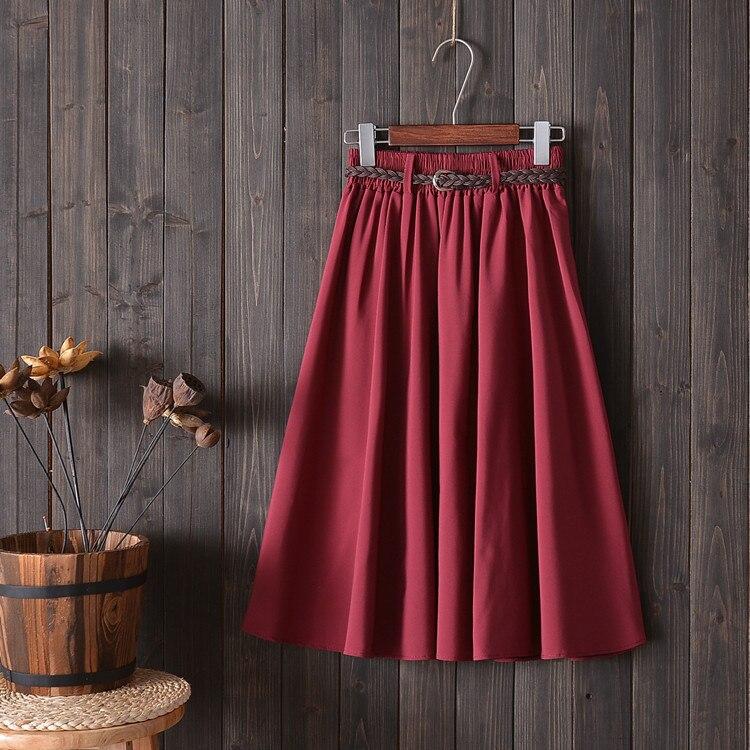 2021 Spring Summer Skirt Women A-Line Elastic Waist Pleated Skirt With Sashes Midi Skirt Fashion Kor
