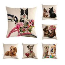 Pet Dog Pattern Cotton Linen Throw Pillow Cherina Cushion Cover Car Home Sofa Decorative Pillowcase  ZY325
