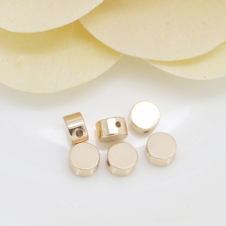 20 Uds. 5x3MM 24K Champagne Color oro plateado latón redondo cuentas espaciadoras planas pulsera cuentas de Alta Calidad Diy accesorios de joyería