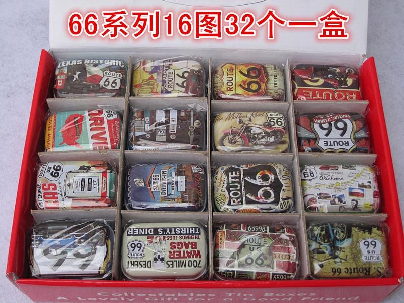 ¡Envío gratis! 1 lote = 32 unidades caja/lata/caja de metal para lápices/kit pequeño/caja de regalo de estaño de hierro de 66 route series