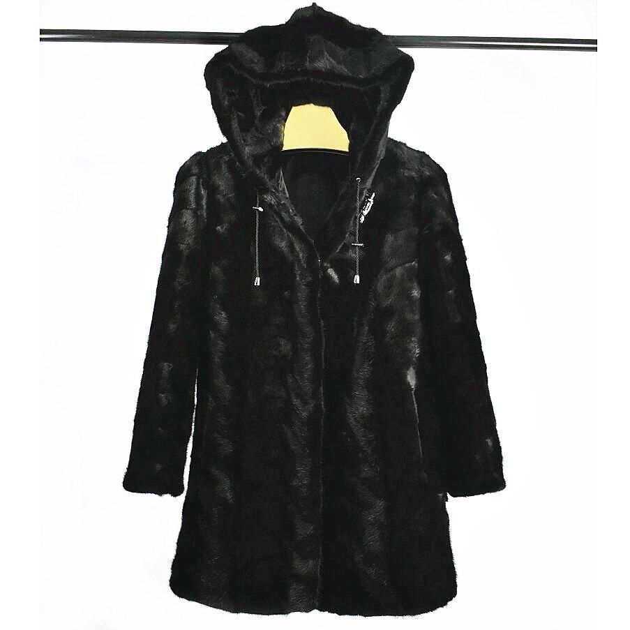 2020 new real mink fur fox fur coat Hood jacket high quality black solid women natural fur coat thick warm street style Hooded