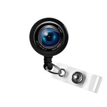 Camera Lens Photo Glass Bottle Cap Retractable ID Badge Reel Nurse Badge Reel