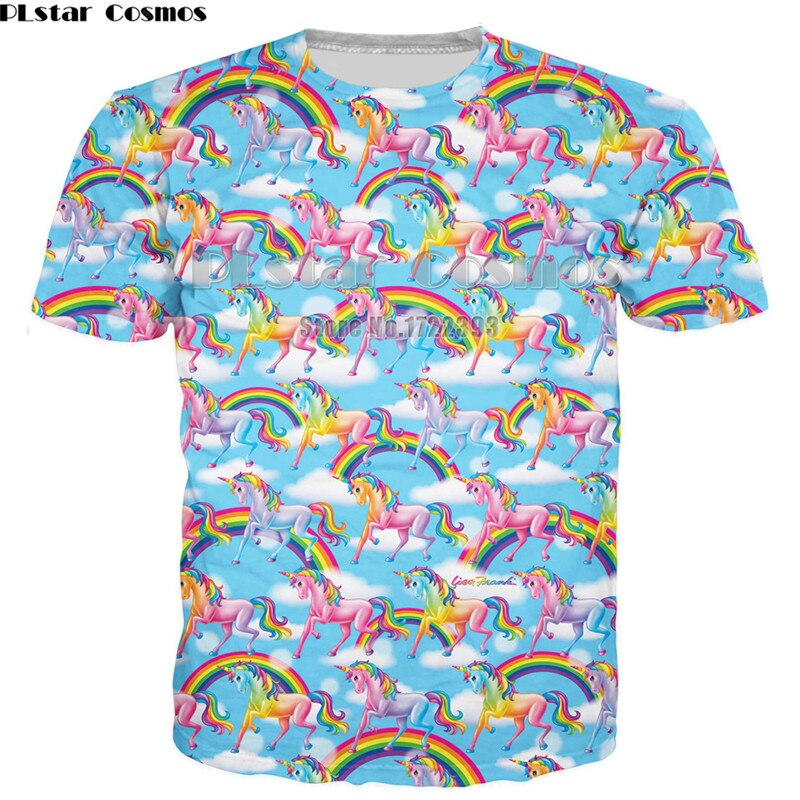PLstar Cosmos nueva moda hombres 3d camiseta unicornio letras camiseta mujeres/hombres camisetas de manga corta Arco Iris unicornio Tops camisetas