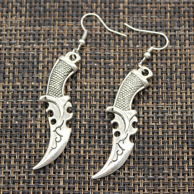 Женские серебряные серьги ручной работы, с ножом томагавка, полицейской дужкой, подвески в виде пестика