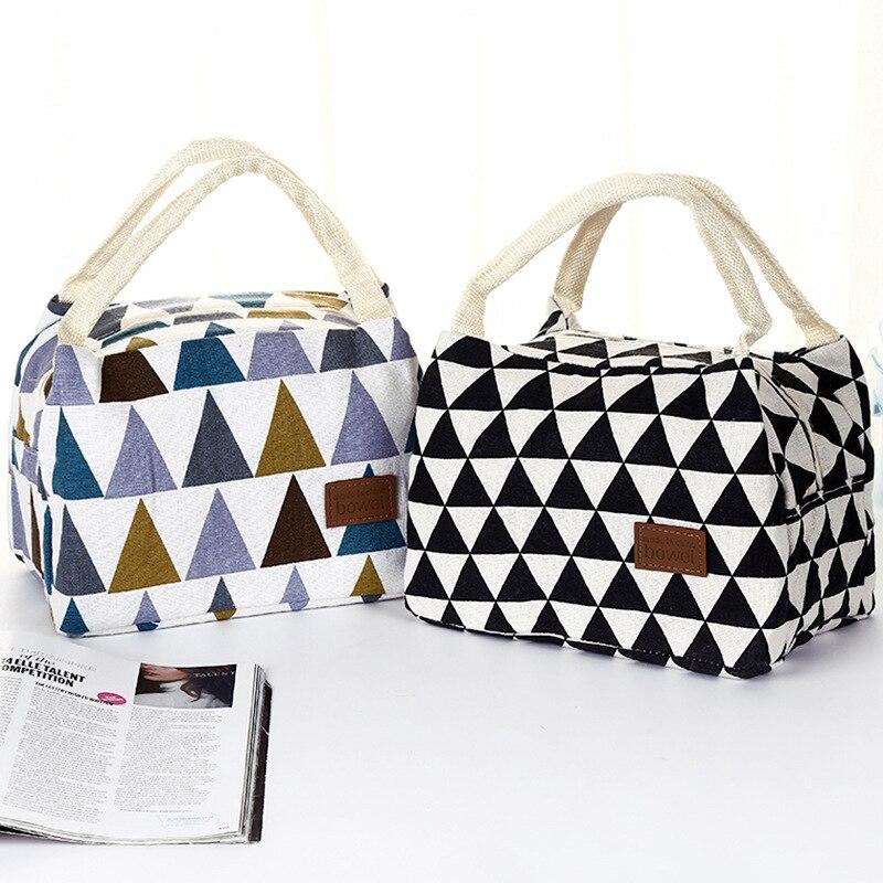 Bolsa de pícnic portátil para acampar al aire libre, senderismo, patrón estampado geométrico, fiambrera térmica triangular de colores, bolsa aislante para comida