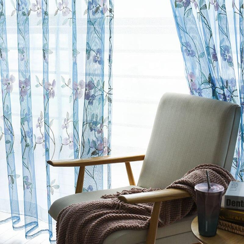 Cortina de oficina europea Floral ventana tul Curtians sala de estar bordado Voile para el dormitorio pura tratamientos de lujo