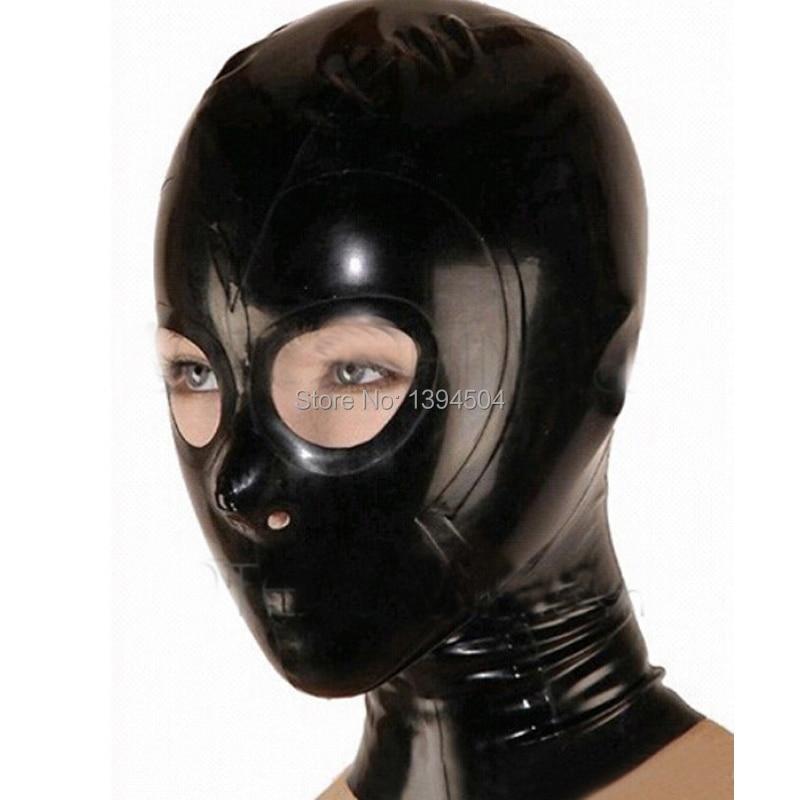 Lencería Sexy exótica Bodystocking hecha a mano de látex capuchas máscara abierta monocromática común capucha cekc zentai fetiche personalizar el tamaño