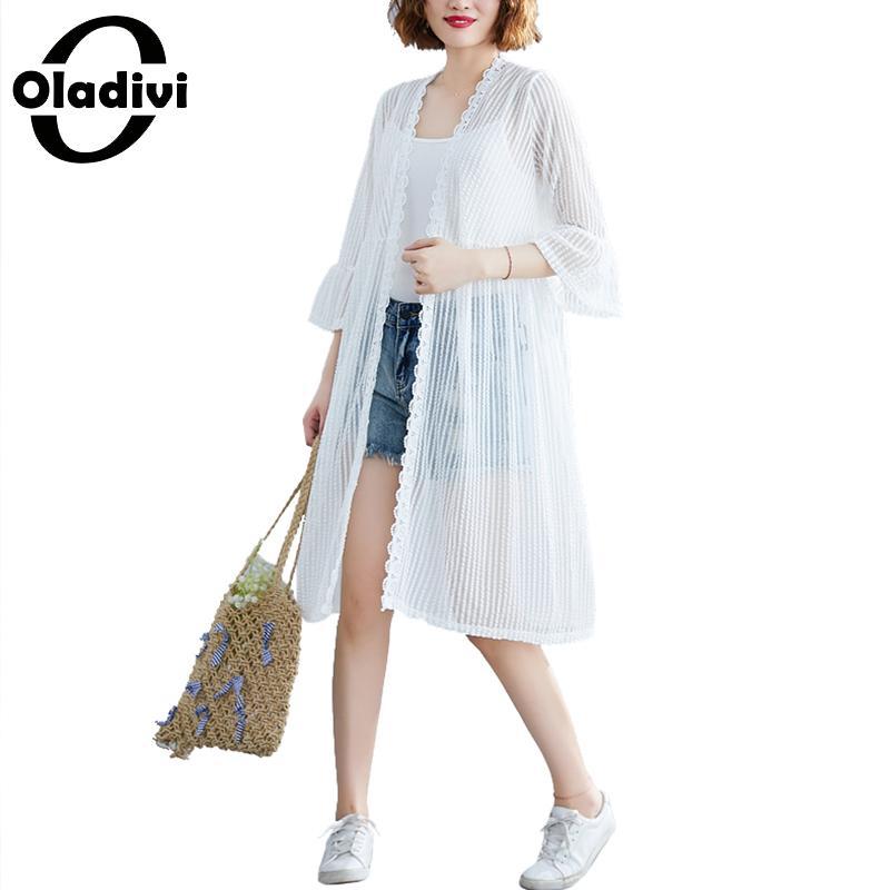 Oladivi Blusa de talla grande para mujer, Blusa tipo Kimono, cárdigan, Blusa fina para la playa, prendas de vestir exteriores de estilo veraniego, cubierta de protección solar, Tops