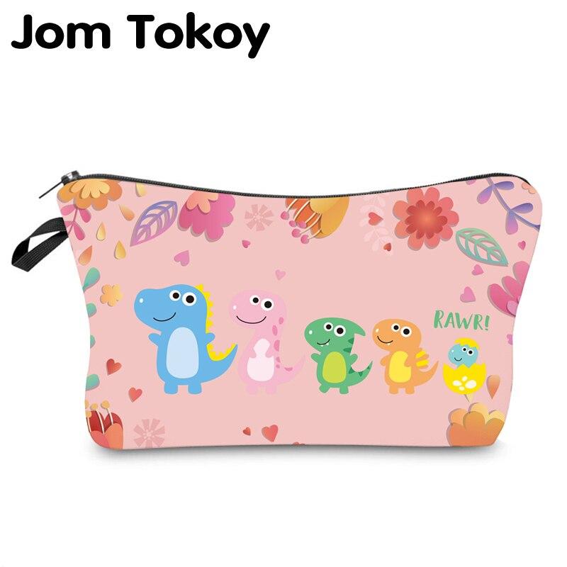 Jom Tokoy, bolsa organizadora de cosméticos a prueba de agua, bolsa de maquillaje con estampado de dinosaurio, bolsa de cosméticos de moda para mujeres, bolsa de belleza multifunción 948