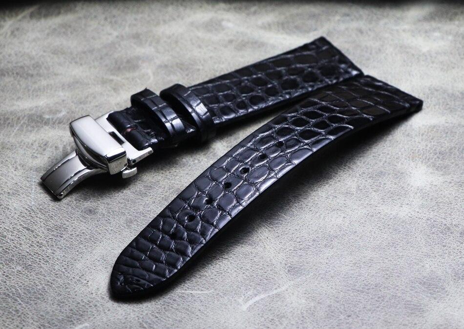 Couro de Crocodilo Pulseira para Relógio de Marca Real Tiras Finas Borboleta Fivela Luxo Artesanal 18 19 20 21 22mm