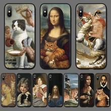 Funda de teléfono Mona Lisa con pintura artística para iPhone 7 6X8 6S Plus, carcasa trasera de TPU para iPhone 11 Pro XS MAX 5 5S SE XR