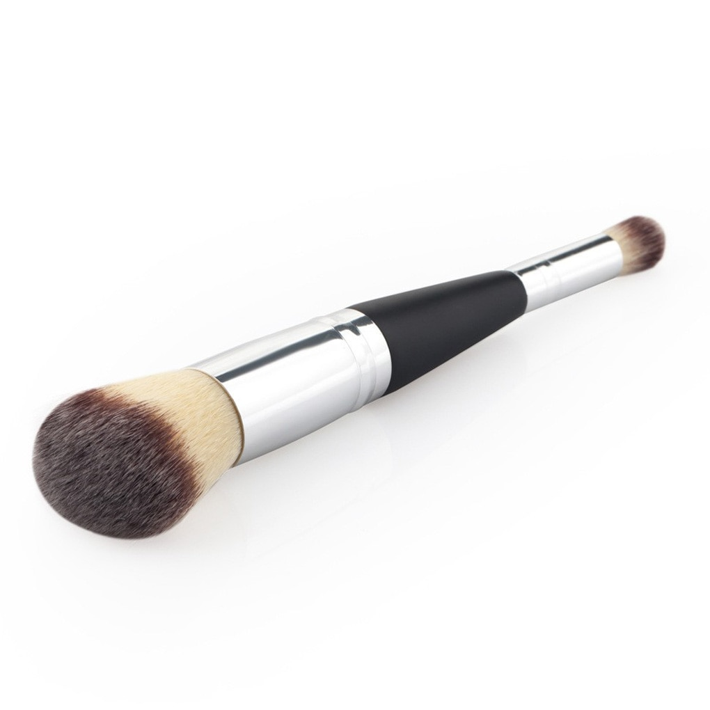 Neue Tragbare Doppel Kopf Dual Verwenden Tragbare Holz Aluminium Griff Kosmetik Make-Up Powder Blush Lidschatten Pinsel