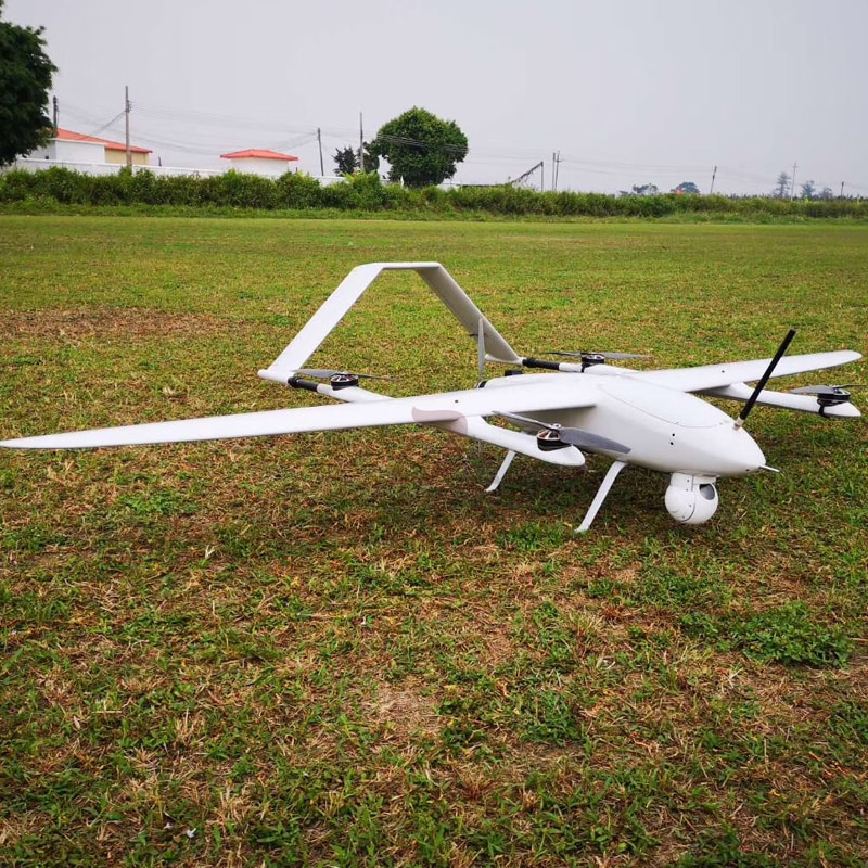Electric Powered 2 Hours Endurance VTOL Fixed Wing UAV Aerial Video Surveillance Survey Mapping Drone