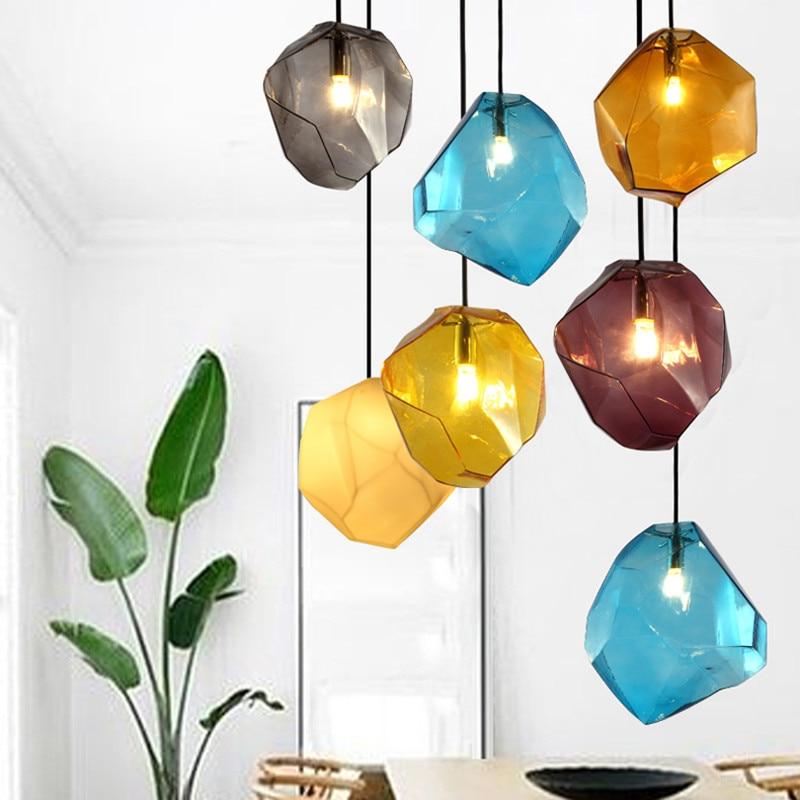 التصميم الحديث حلوى لون الجليد الزجاج الإضاءة سقف معلق قلادة مصباح الإضاءة مقهى بار مخزن قاعة