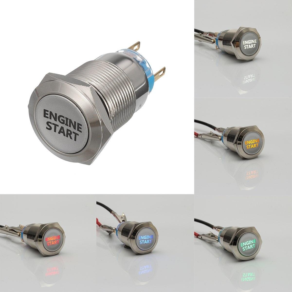 Металлические кнопочные выключатели для запуска двигателя автомобиля, 12 В, 19 мм, светодиодные выключатели для включения и выключения двигателя