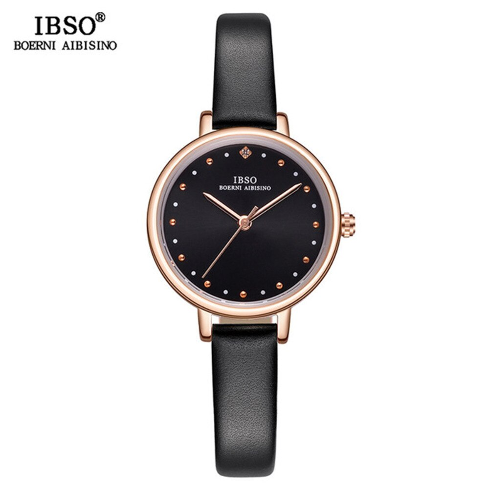 ¡Moda de lujo 2019! reloj IBSO con esfera negra y oro rosa para mujer, reloj ultrafino para mujer, reloj femenino S8689L