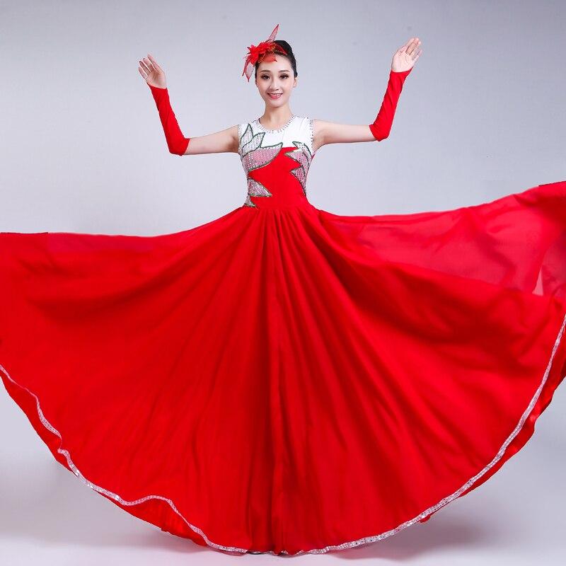 الأحمر طويل كامل تنورة افتتاح الرقص كبيرة سوينغ اللباس الاسبانية مصارعة الثيران أداء الرقص زي مرحلة الترتر الرقص زي H589