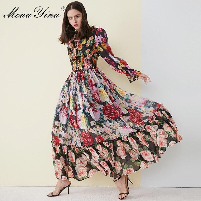 MoaaYina, Vestido de playa de alta calidad para mujer para verano, vestido de gasa con cuello con volantes, elegante, elástico, cintura estampada, vestido largo Maxi de pasarela