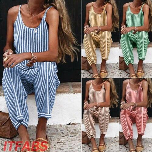 Stylish Women Summer Spaghetti Strap Striped High-waist Sleeveless V-neck Jumpsuits Lady Casual Comfortable Daily Clothing S-XXL