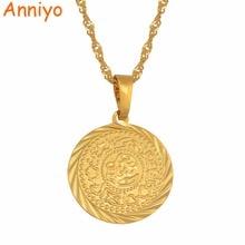 Монета Anniyo, ожерелье с подвеской-кулоном, золотого цвета, Арабская, африканская, монета, знак, цепь, ювелирных изделий, Ближний Восток, монета, монета, подарок #049606
