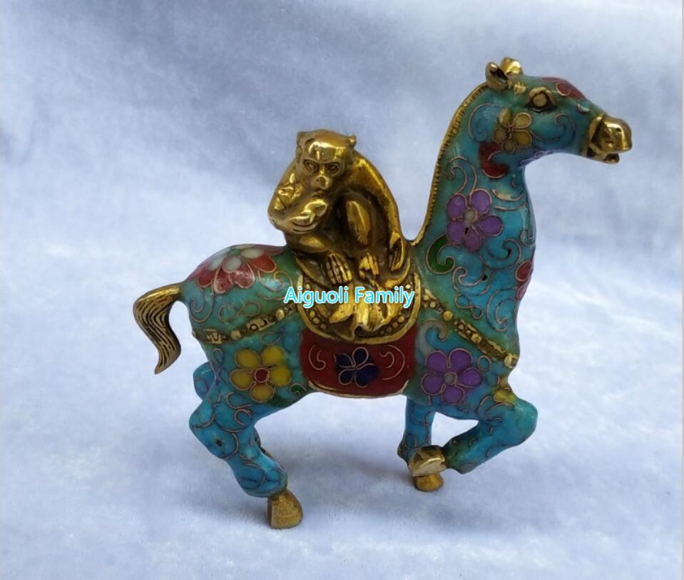 Arte coleccionable chino antiguo Cloisonne bronce tallado Monkey Horse Riding estatua/decoración del hogar animales escultura vacaciones regalos