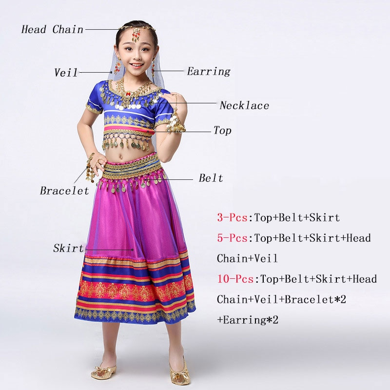 2019 Kids Belly Dance Costumes Belly Dance Set  Indian Style Dance Wear For Children Girl With Indian Jewelry Accessories rendezvous with ancient indian society
