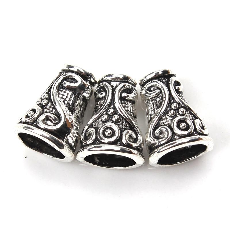 5 piunids/lote 10*8*4,5mm tapas de columna cónica de aleación Color plata antiguo patrón decorativo tapas de cuentas DIY resultados de la joyería