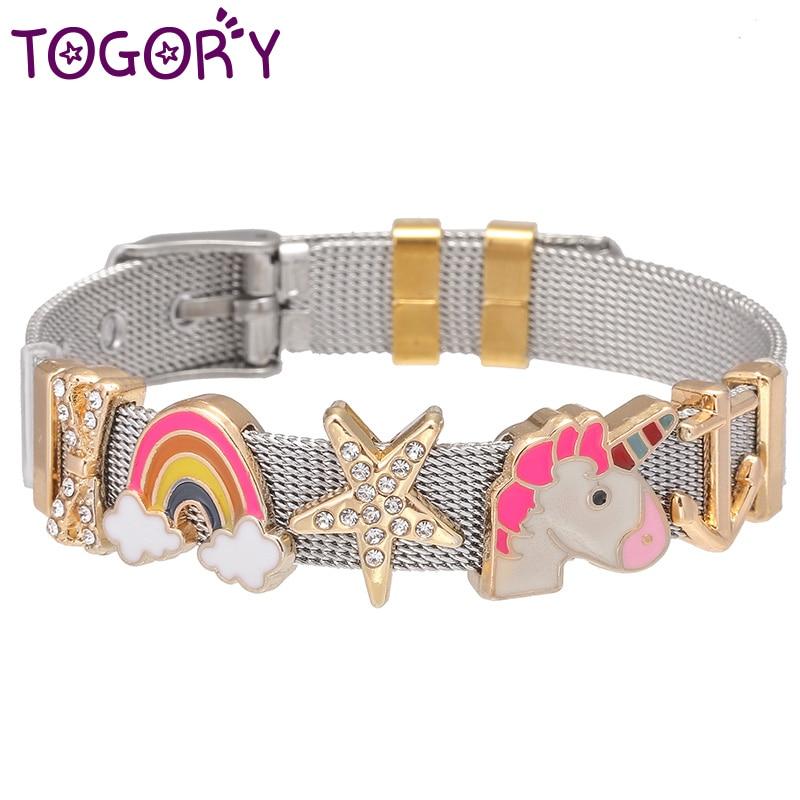 New Design Jewelry Heart Rainbow Unicorn Fine Charms Bracelets with Stainless Steel Keeper Mesh Bracelet Set For Women Gift