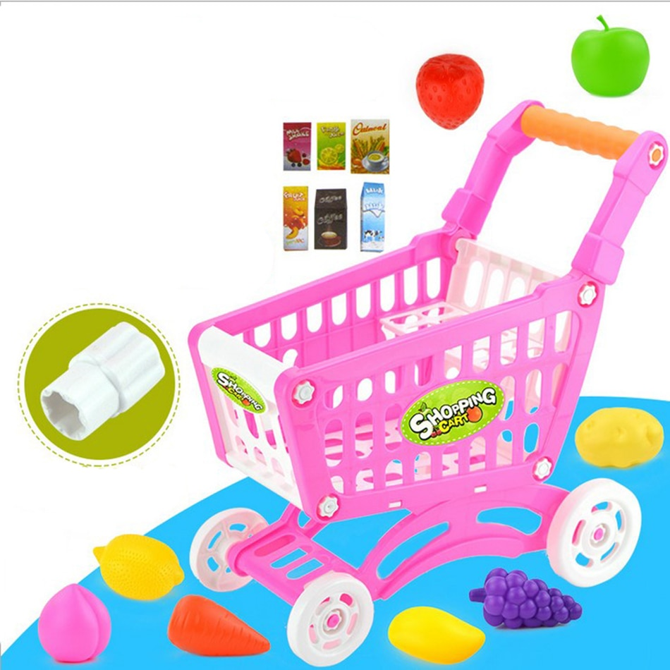children s toy doll stroller play pretend toy children s toy cart girl play house toy trolley birthday gifts brinquedos juguetes 15Pcs Supermarket Pretend & Play Shopping Cart Toys Set Children Home Educational Toy Child Play House Sets Toy