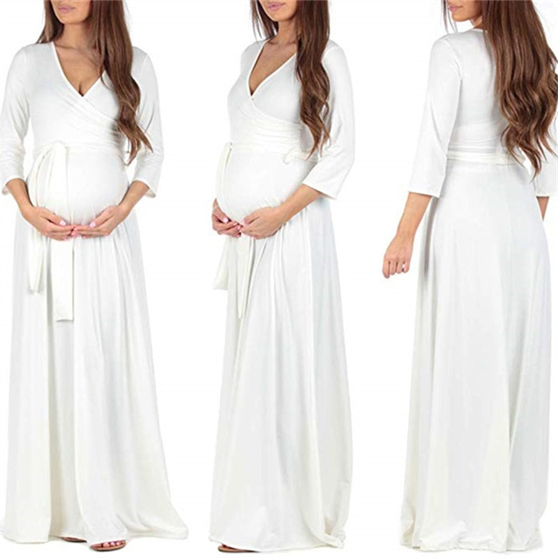 Maternity Dresses For Photo Shoot Sexy Evening Party Dress Maternity Clothes Dresses For Pregnancy Women V-Neck Pregnant Clothes enlarge