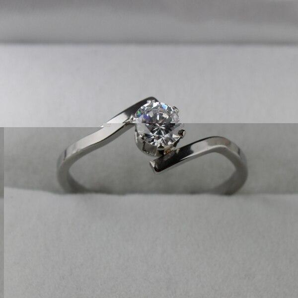 5mm zircon CZ rings 316L Stainless Steel women finger ring  wholesale lots