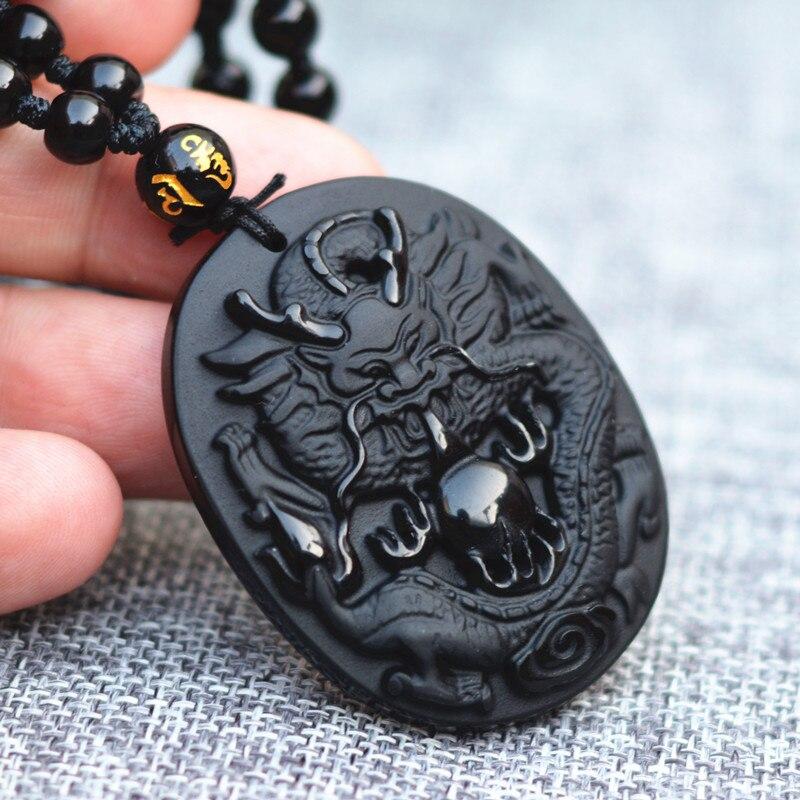 Collar con colgante de amuleto de la suerte del dragón chino tallado en piedra obsidiana negra Natural envío directo para hombres valientes joyería de moda