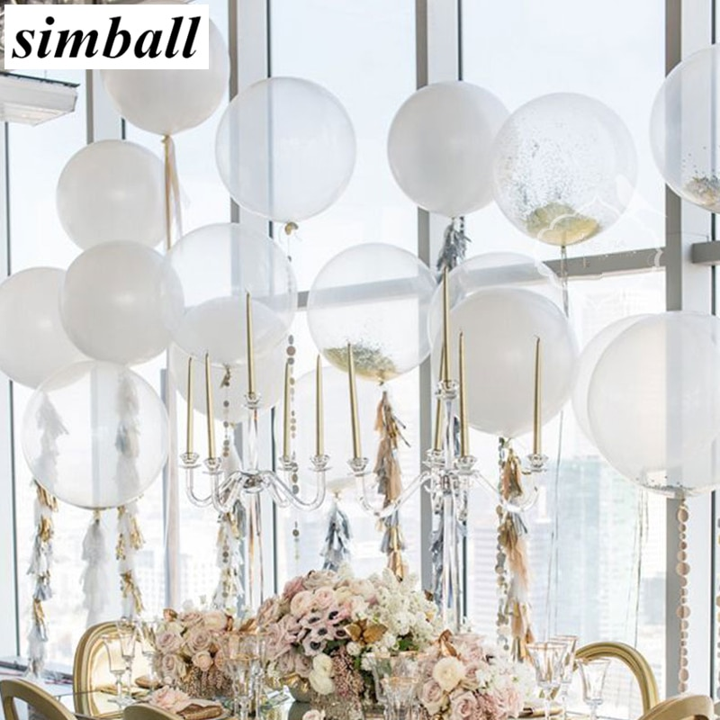 Good Quality!! 50pcs/lot 12inch Transparent Latex Balloons Happy Birthday Wedding Party Decoration Clear Air Balloons Supplies