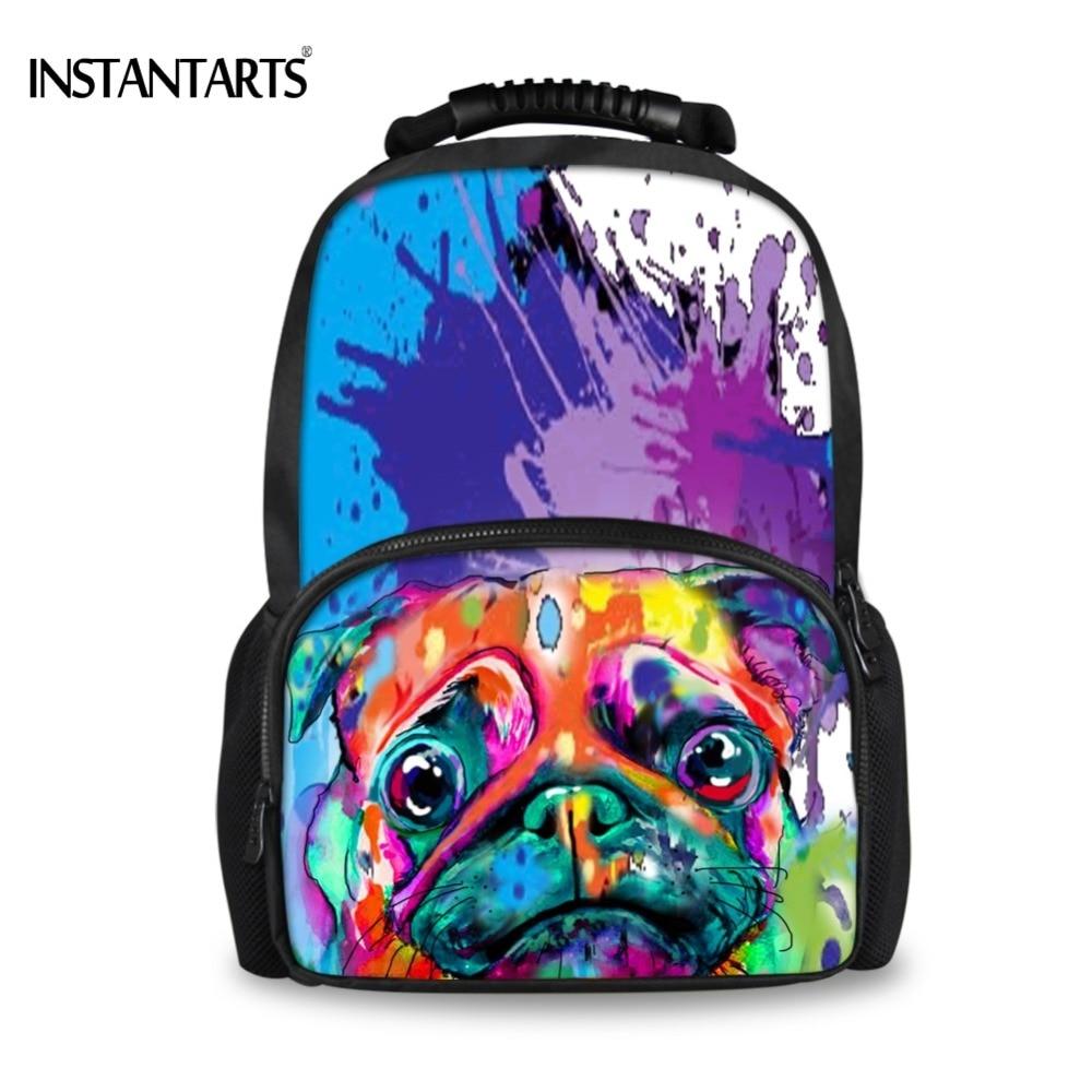 INSTANTARTS Painting French Bulldog Printing Felt Backpacks for Teen Boys Casual Funny  Book Shoulder Bags Men Travel Rucksacks