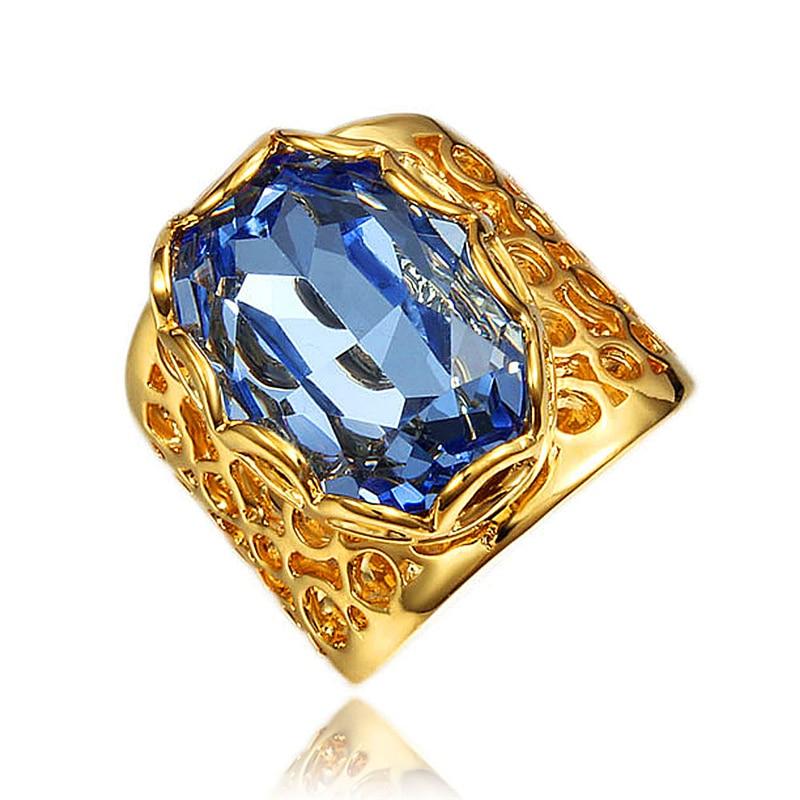 Nuevas llegadas anillos grandes cz piedra azul anillo de alta calidad para fiesta boda joyería de moda gota envío gratis