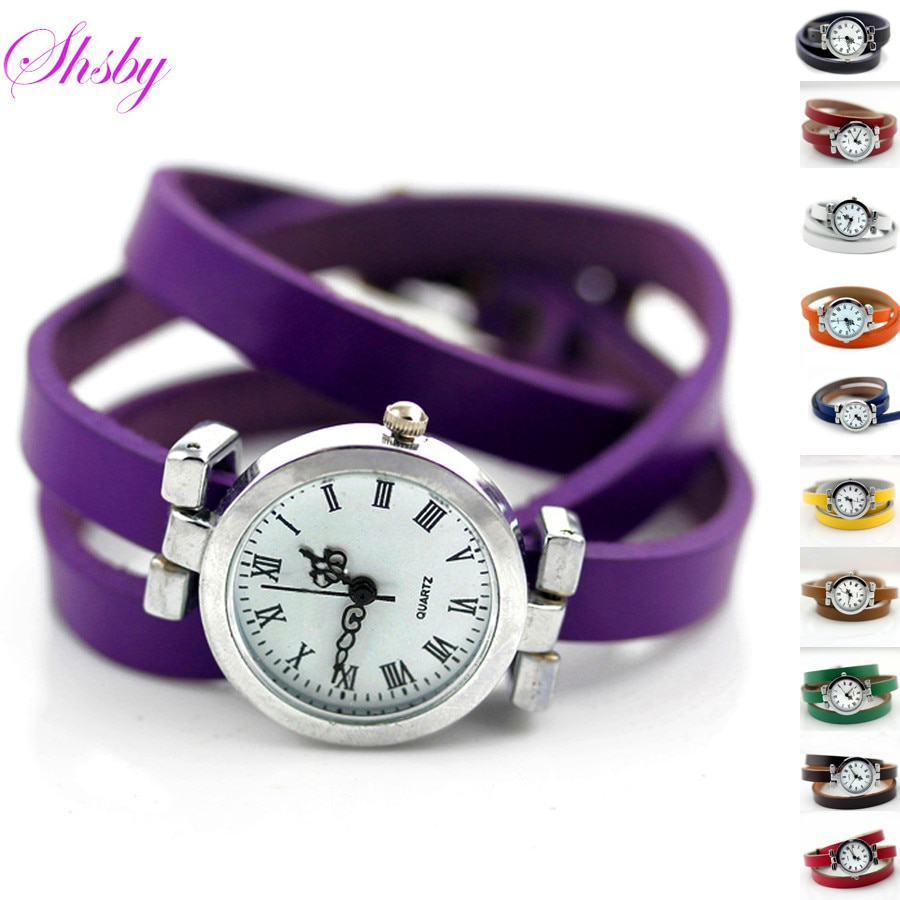 Shsby Nova moda hot-selling das mulheres longo de couro relógio feminino ROMA relógio do vintage mulheres vestido relógios 11 relógios atacado