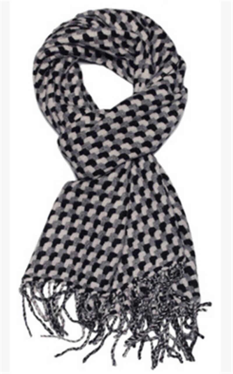 أوشحة كشمير ماعز نقي للنساء ، شال باشمينا سميك كاروهات باللونين الأسود والأبيض ، مقاس 30 × 180 سم