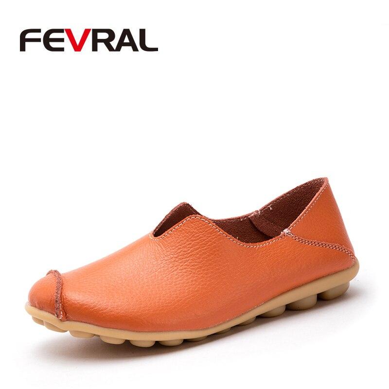 FEVRAL primavera verano Mujer Split cuero Casual Hollow zapatos moda transpirable confort mujer mocasines Slip-on gran tamaño 35 ~ 44
