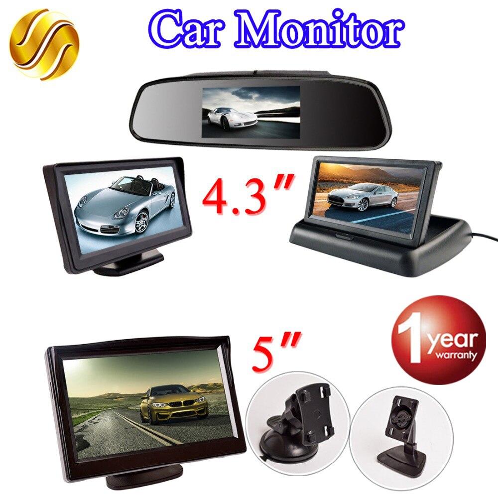 Monitor de coche LCD TFT Monitor de escritorio/plegable/Espejo Monitor 4,3 Video PAL/NTSC Auto aparcamiento retrovisor de respaldo