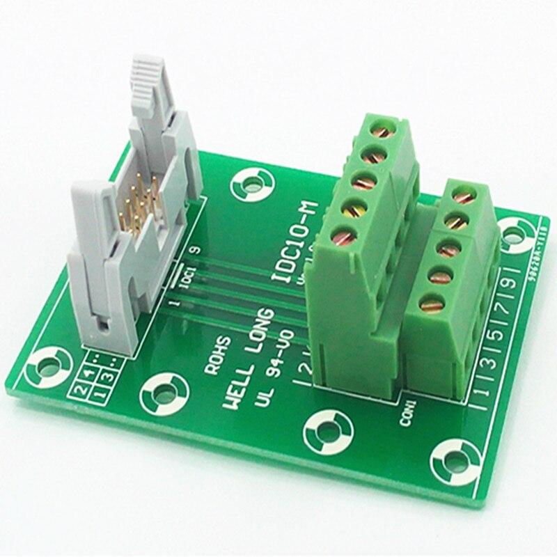 "IDC10 2x5Pins 0.1"" Male Header Breakout Board, Terminal Block, Connector."