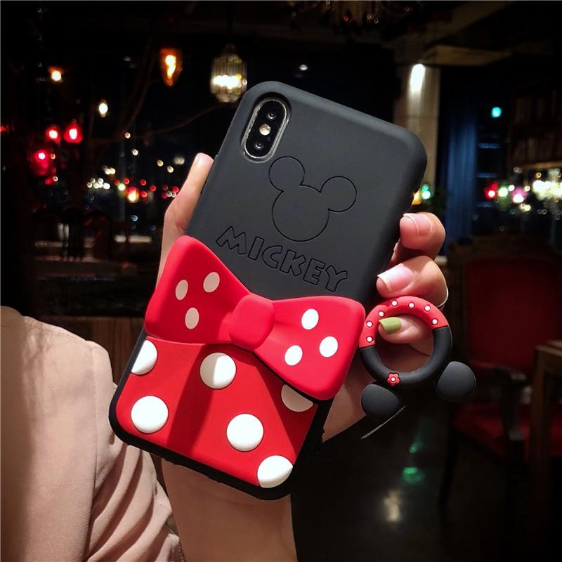 Bonita funda trasera de silicona suave con soporte para teléfono para iPhone 6S 7 8 Plus X XS MAX XR 3D dibujos animados Capa iPhone 6 s casos tapa