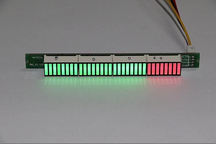 VU Meter Level Indicator Amplifier Board Dual Channel 32 LED MCU Adjustable Display Pattern LED
