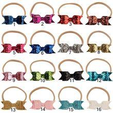 Yundfly 10pcs/lot Glitter Leather Hair Bow Headband Sequin Bowknot Khaki Nylon Elastic Hairbands Newborn Baby Hair Accessory